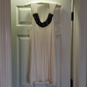BCBG off white / light cream dress & navy sequin